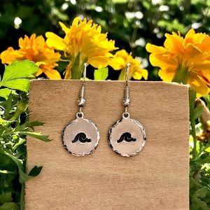 Hand stamped metal earrings